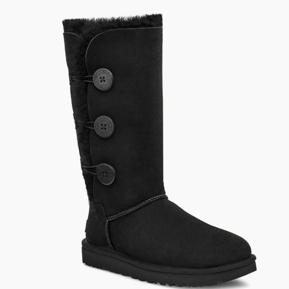 UGG Black Suede Bailey Button Triplet Tall Boot 5